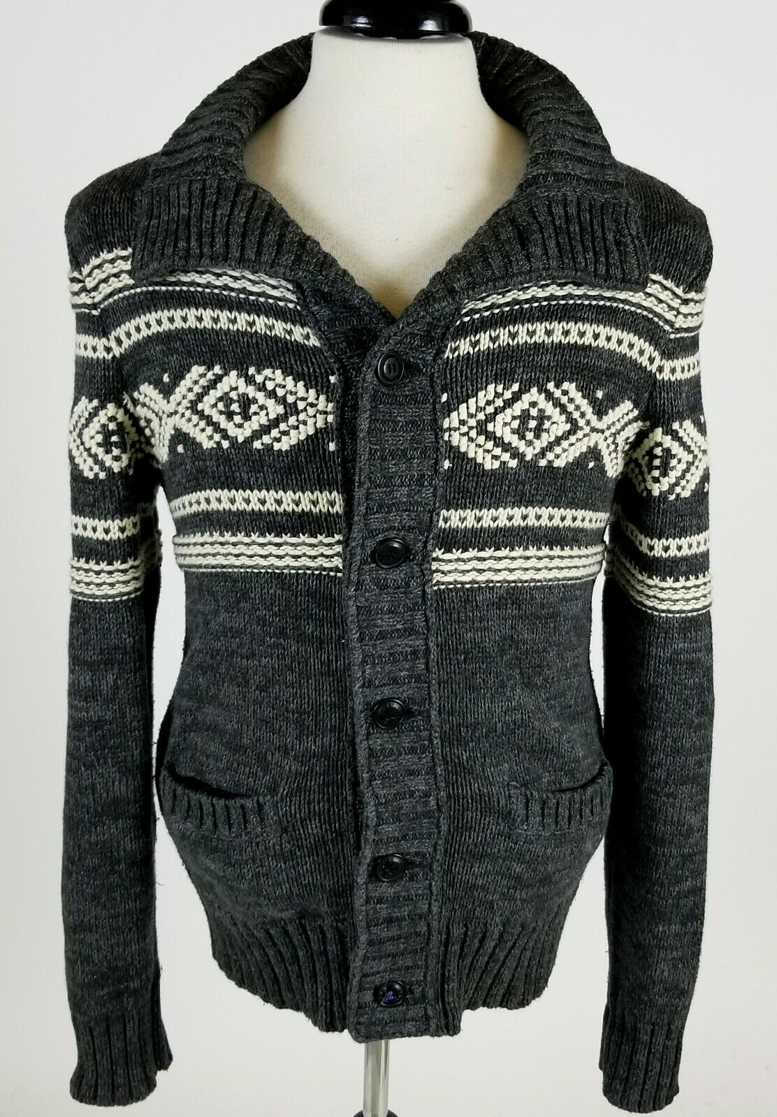 American Eagle Cotton Wool Cowichan Cardigan Sweater Classic Fit Chunky Knit M