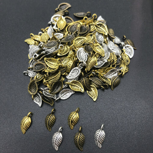 8x15mm 60pcs Alloy Beads Cap Ancient Golden Charms Leaves Shape Pendant Charms