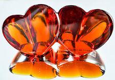 Cristalleries De Lorraine Signed Double Heart Crystal Sculpture