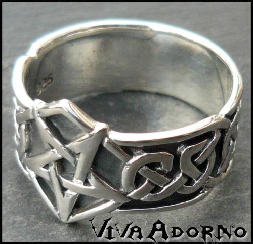 925 anillo de plata dedo pentagrama anillo Gothic tribal Celtica sr9