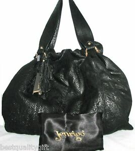 Image Is Loading New Jenrigo Black Snake Leather Large Tote Hand