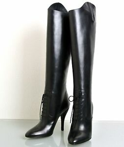 78e598141733 Image is loading New-Authentic-GUCCI-Elizabeth-High-Heel-Leather-Riding-