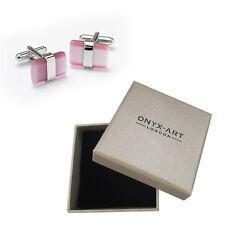 Mens Pink & Silver Cats Eye Cufflinks & Gift Box By Onyx Art Smart Fashion