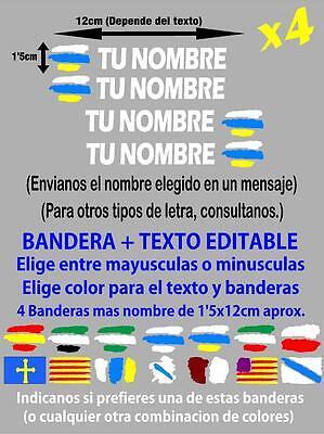 4 x BANDERA CANARIAS NOMBRE EDITABLE PEGATINA VINILO CASCO BTT BICICLETA p019