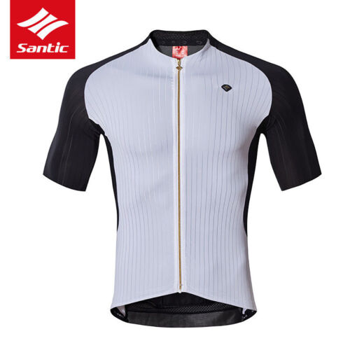 Santic Men Road Bike Cycling Short Sleeve Racing Breathable White Jersey-Diwen