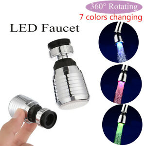 Verde-azul-Lgb-Ducha-Cambio-de-color-Grifo-Luz-LED-Sensor-de-temperatura-Grifo
