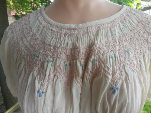 Vintage Edwardian Ladies Silk Smocked Crop Top