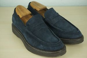 TOD-S-Blue-Suede-Nubuck-Penny-Loafers-Crepe-Sole-Shoes-Sz-7-5-BARELY-USED