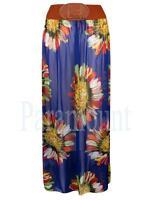 Floral Print Long Belted Boho Chiffon Maxi Skirt  Womens Size