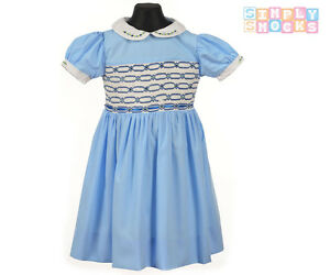 91369468fe2 Baby Girl Hand Smocked Dress Embroidered Sky Blue Traditional Romany ...