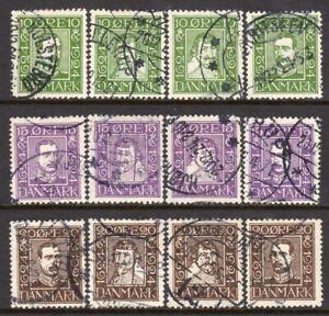 Denmark-Scott-164-75-VF-Used-1924-Complete-Set-King-Christian-IV