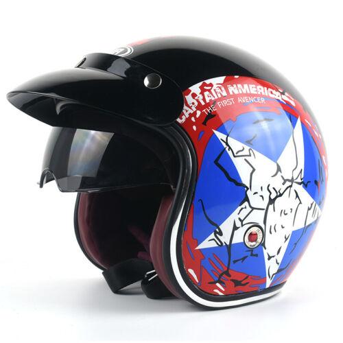 Motorcycle Vintage Helmets 3//4 Open Face Helmet Built-in Visor
