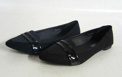 F80035-señoras Spoton señalado zapatos puntera De 2 Colores-Negro Y Azul Marino.