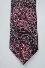 BRIONI Pink/Burgundy/Gray Paisely Silk Tie Italy 3.5 x 60 Necktie