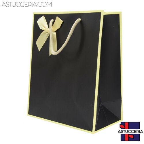 Busta Shopper Di Carta Linea NIZZA 18x23x10cm 12 pezzi Nero Per Gioielli