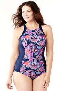 53316ed571 Details about LANDS  END Plus Size 22W Deep Sea Lotus Floral Aquasport  Highneck Swimsuit