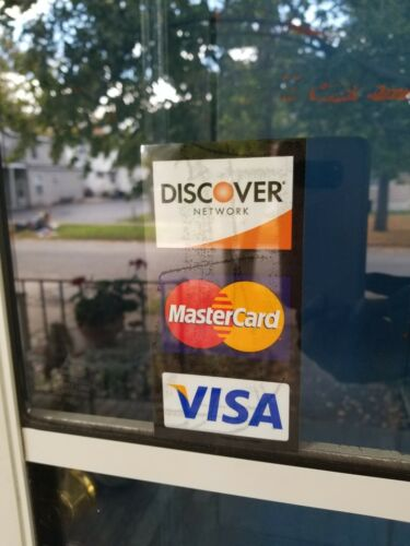 CREDIT CARD LOGO DECAL STICKER DOUBLE-SIDED VISA//MASTERCARD//DISCOVER