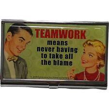 Ephemera Retro Business Card Holder Case Teamwork Share The Blame Stainless New