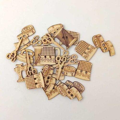 50Pcs Mixed Natural wooden Buttons Scrapbooking Craft decoration Sewing tool