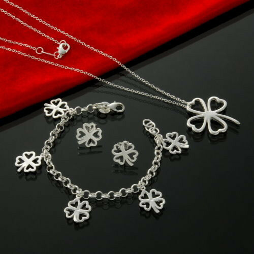 2PCS wholesale Jewelry  Silver Ladies Silver Sets Earrings /& Necklace 925Bag