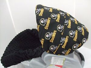 Steelers-team-print-canopy-amp-black-minky-infant-slip-cover-set-Graco-amp-custom