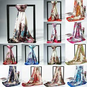 Fashion-Women-Soft-Long-Neck-Large-Silk-Satin-Square-Scarf-Wrap-Shawl-Scarve-New