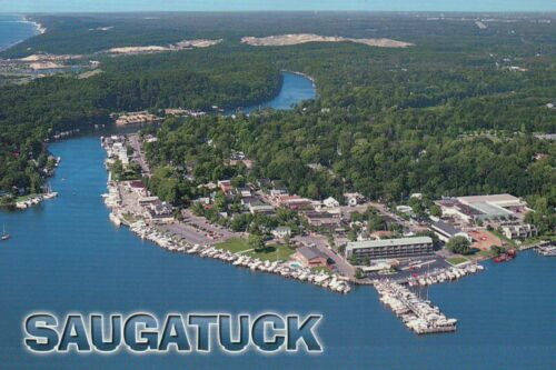 Downtown Boating /& Vacation Area Postcard Aerial View of Saugatuck Michigan