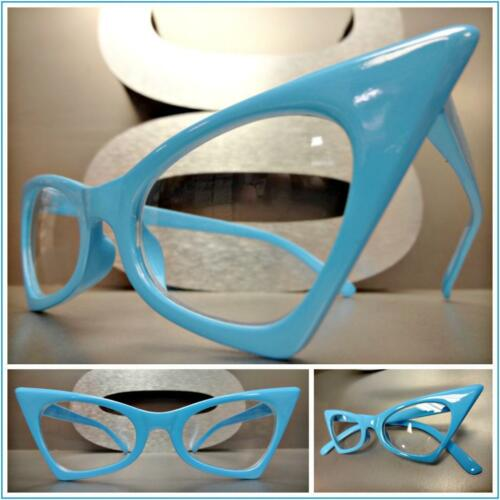 CLASSIC VINTAGE RETRO CAT EYE Style Clear Lens EYE GLASSES Blue Fashion Frame