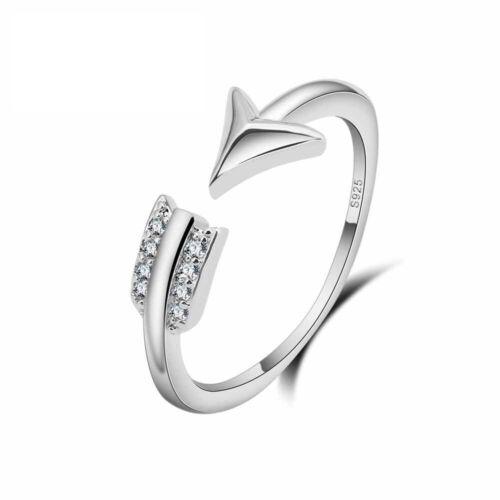 925 Silber Plattierter Filigraner Damen Ring wie ein Pfeil mit 8 Zirkonias NEU