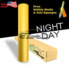 """*48""""x240"""" Reflective Yellow Vinyl Car Wrap Sticker Decal Graphic Sign Adhesive"""