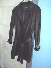 TERRY LEWIS 1X Black Leather trench coat jacket Lined pockets Perfect