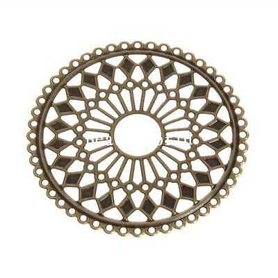 30 Pcs Bronze Tone Filigree Round Connector Embellishments Findings 60mm