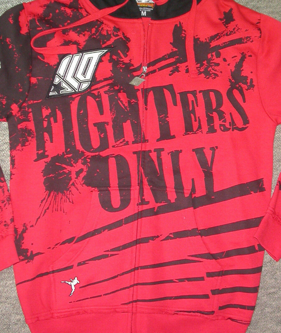 FIGHTERS ONLY ZIP UP HOODED SWEATSHIRT  LARGE L  MMA UFC MUAY THAI BOXING GYM NEW  quick answers