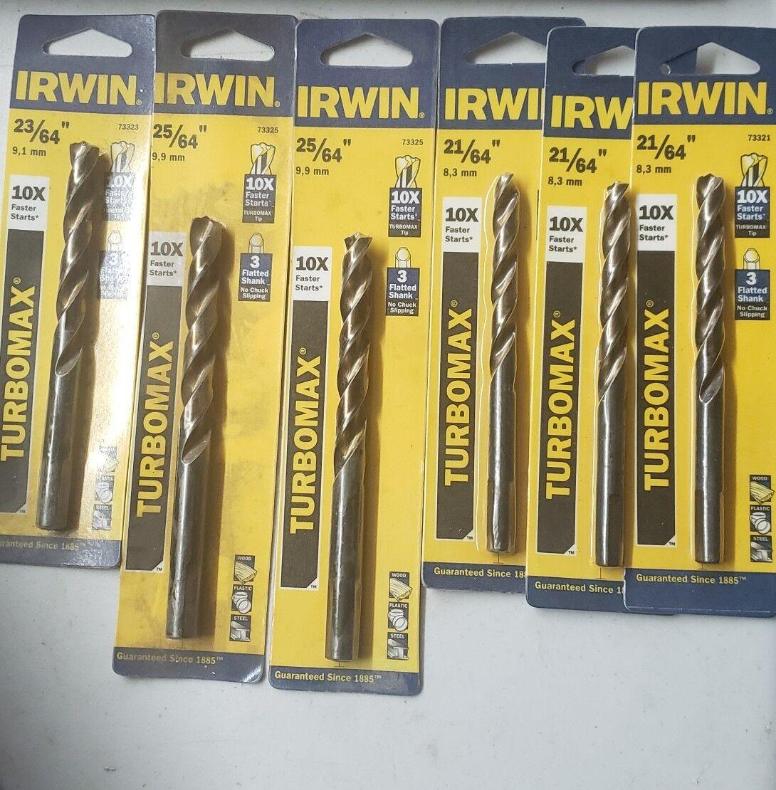 (lot of 6) Irwin Turbomax Dril Bits Wood Plastic & Steel 10x Faster Starts