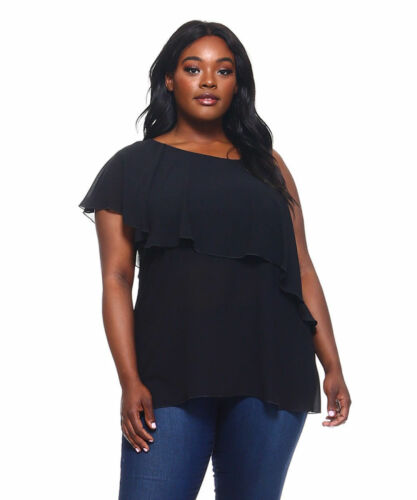 Womens Black Off Shoulder//One Strap Top LOVE JANE Plus Size 6X