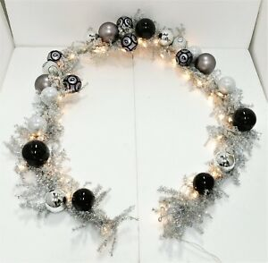 Details About Frontgate Christmas Garland W Ornaments 9 5 Black White Theme Jim Marvin