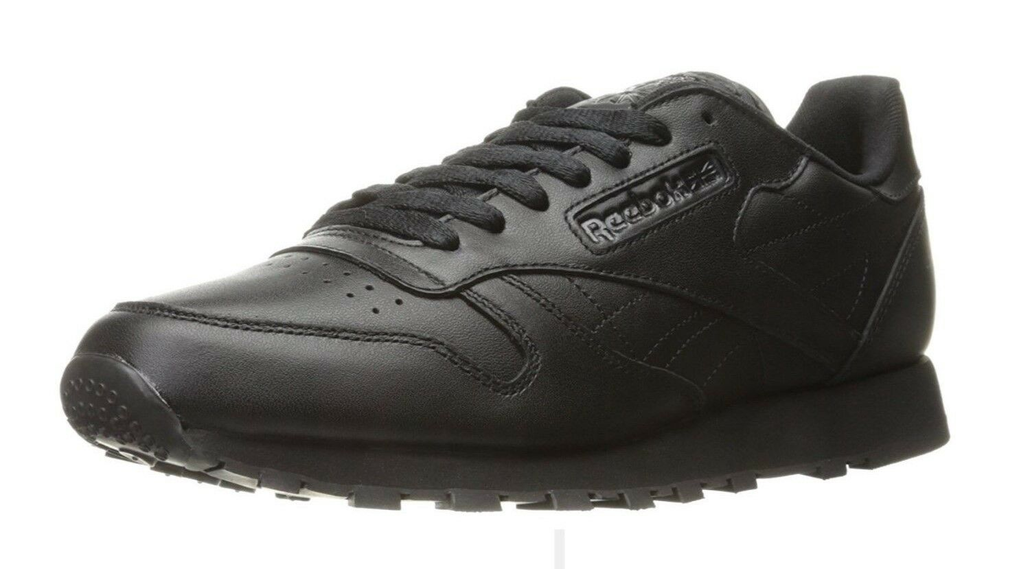 REEBOKMen's Classic CL LTHR Black/Black Sneaker, Size 14, Soft Leather J90119