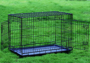 Folding 1 Amp 2 Door Dog Crate Cage Kennel 6 Sizes Small