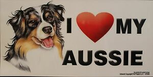 I Love my AUSSIE LARGE Car Fridge Dog Magnet 4x8 USA NEW Waterproof Heart