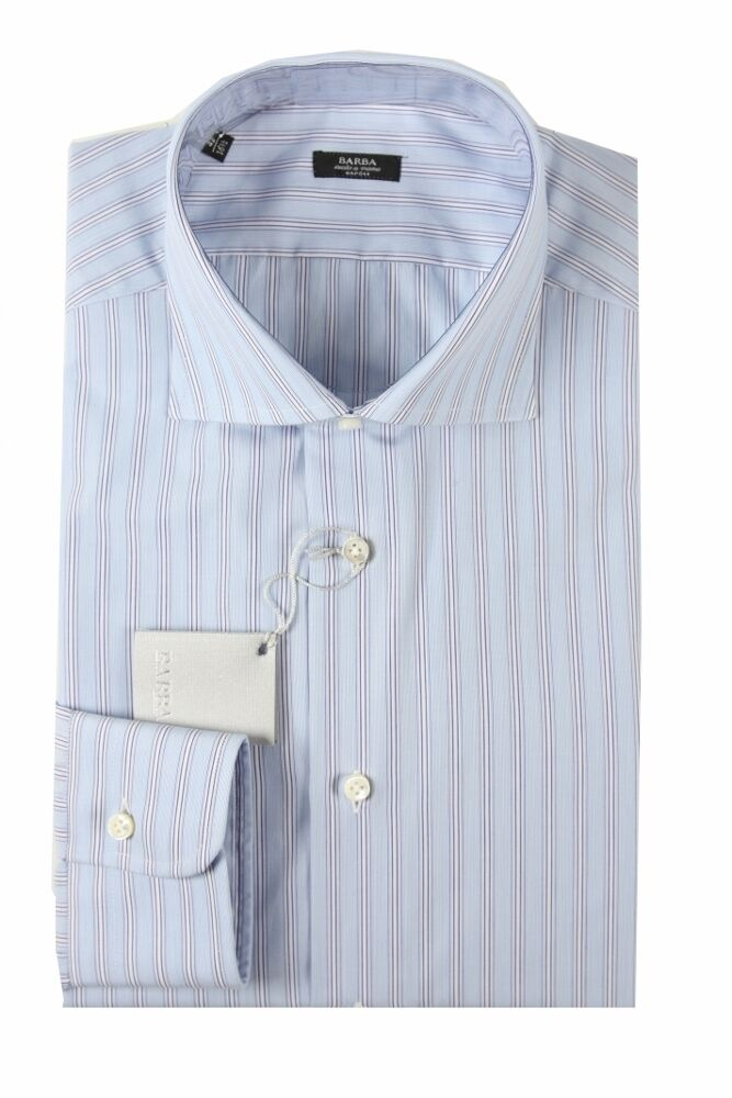 Barba Shirt  16.5 Light with navy and white stripes, spread collar, pure cotton