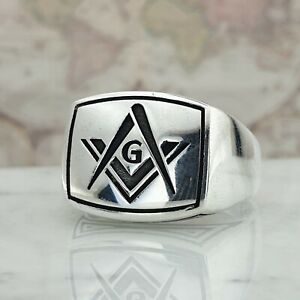 Masonic-Logo-Mens-Ring-Solid-925-Sterling-Silver-HandMade-Signet-Style-All-Size