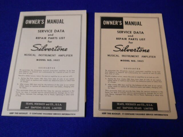 Vintage Silvertone 1482 Guitar Amplifier Instruction Manual Schematic Copy 60's