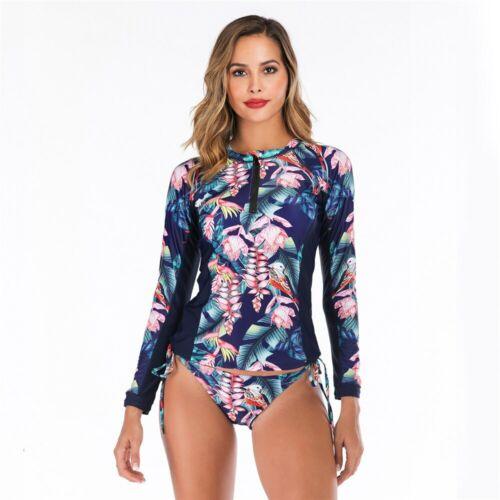 Long Sleeves Rash Guard Women Floral Print Swimwear Zipper Two Piece Swimsuit