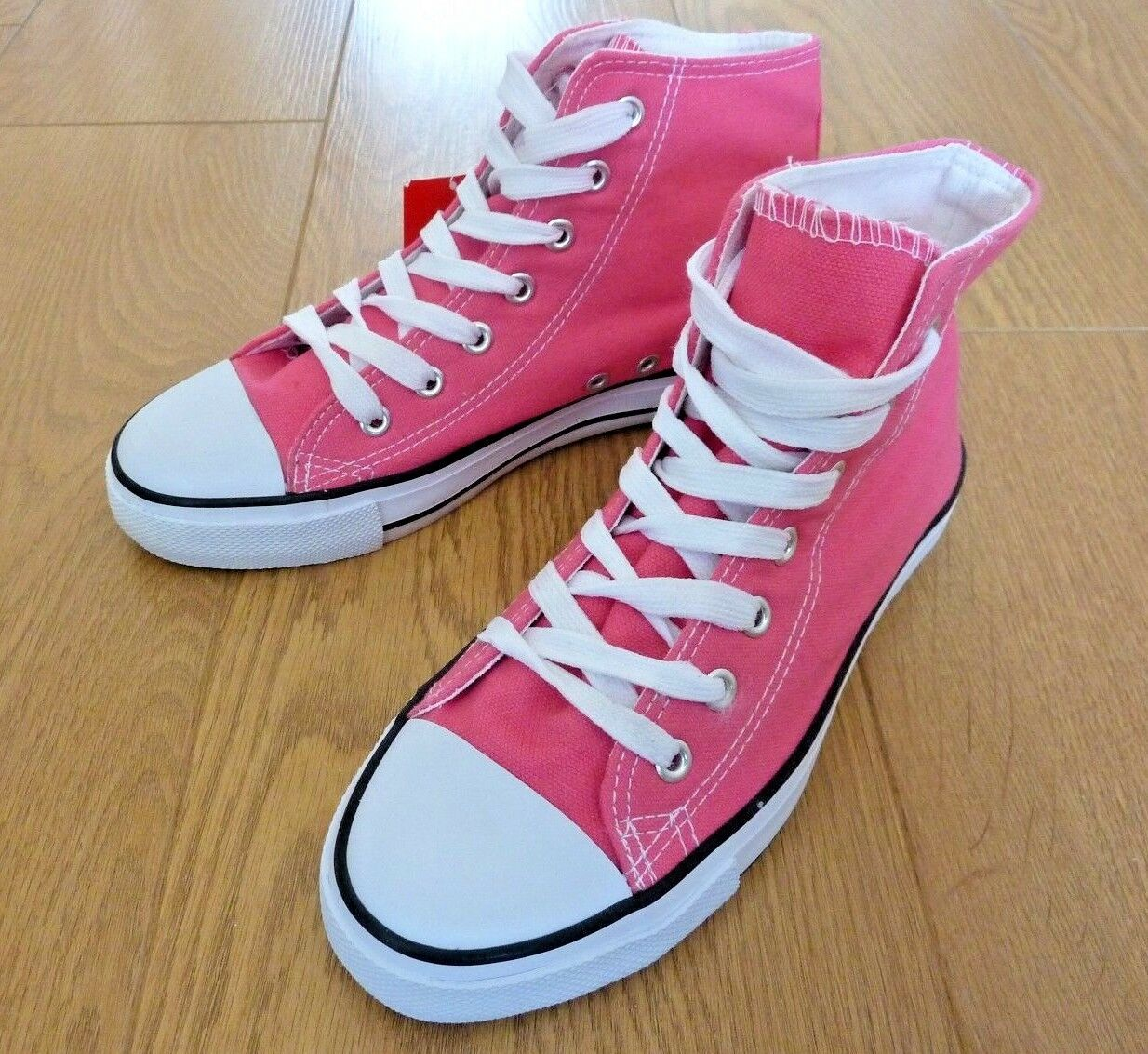 womeny Ladies High Top Pink Canvas Trainers shoes Size