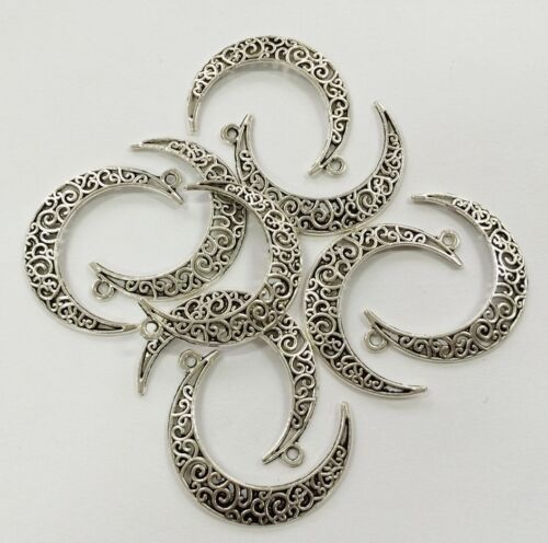 20PCS Antique Silver Tone Hollow Flower Moon Cameo Alloy Charms Pendant Jewelry