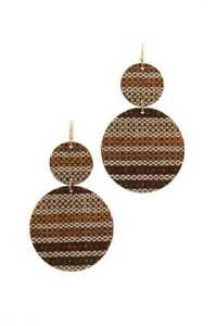 New-Brown-Double-Circle-Drop-Fabric-Earrings