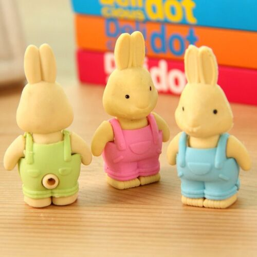 Cartoon Rabbit Erasers Office School Rubber Eraser Kids Children Stationery Gift