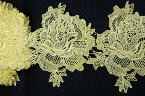 Cotton and polyester mix yellow Flower Lace.