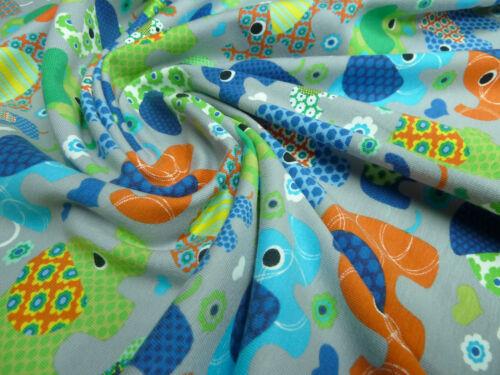 Tissu Coton Jersey éléphants fleurs coeurs gris vert Coloré Enfants Tissu