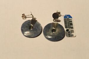 Dur Ohrhänger Coral blue disc 925 Silber blaue Scheibe O3890
